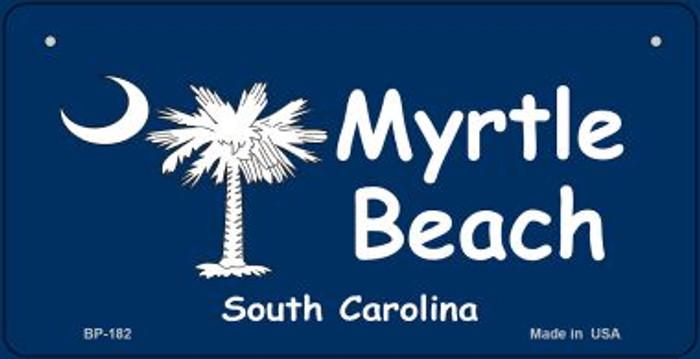 Myrtle Beach Blue Flag Novelty Metal Bicycle Plate BP-182