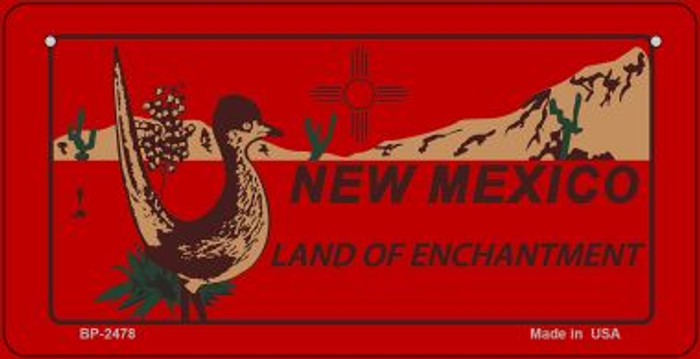 Roadrunner Red New Mexico Novelty Metal Bicycle Plate BP-2478