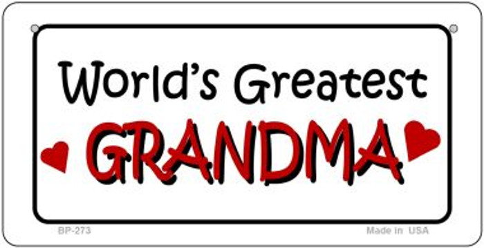Worlds Greatest Grandma Novelty Metal Bicycle Plate BP-273