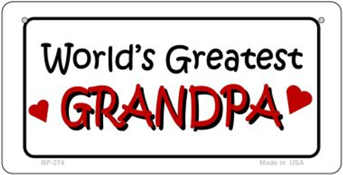 Worlds Greatest Grandpa Novelty Metal Bicycle Plate BP-274