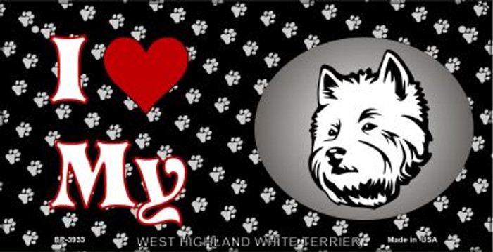I Love My West Highland White Terrier Novelty Metal Bicycle Plate BP-3933