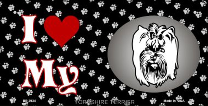 I Love My Yorkshire Terrier Novelty Metal Bicycle Plate BP-3934