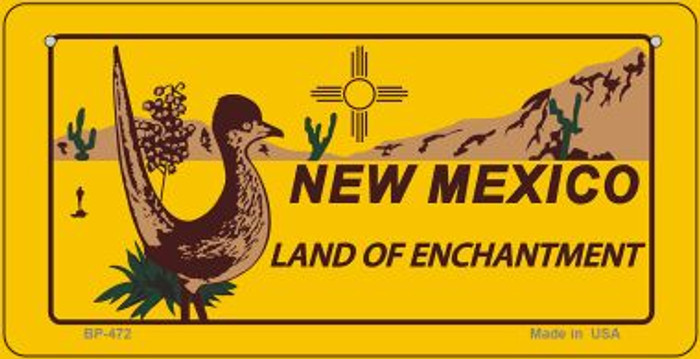 Roadrunner Yellow New Mexico Novelty Metal Bicycle Plate BP-472