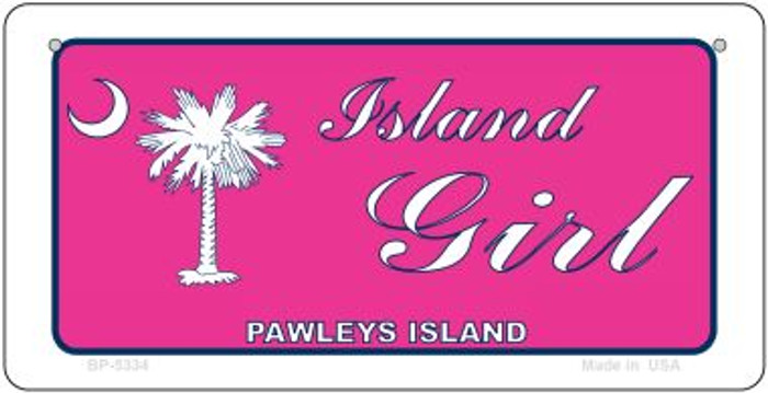 Island Girl Pink Flag Novelty Metal Bicycle Plate BP-5334