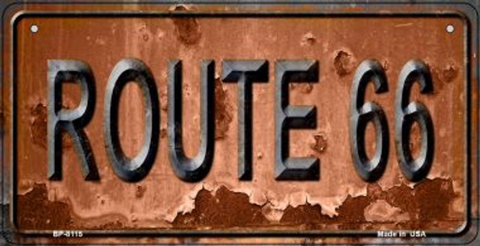 Route 66 Rusty Novelty Metal Bicycle Plate BP-8115