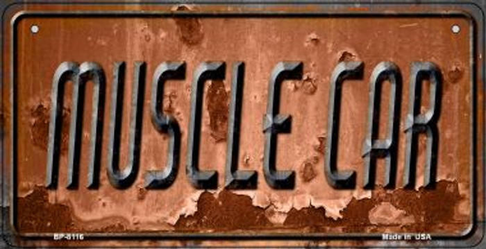 Muscle Car Rusty Novelty Metal Bicycle Plate BP-8116