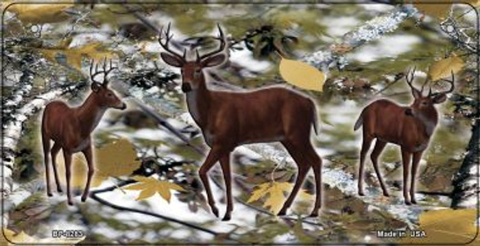 Deer on Camo Novelty Metal Bicycle Plate BP-8283