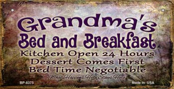 Grandmas Bed and Breakfast Novelty Metal Bicycle Plate BP-8375