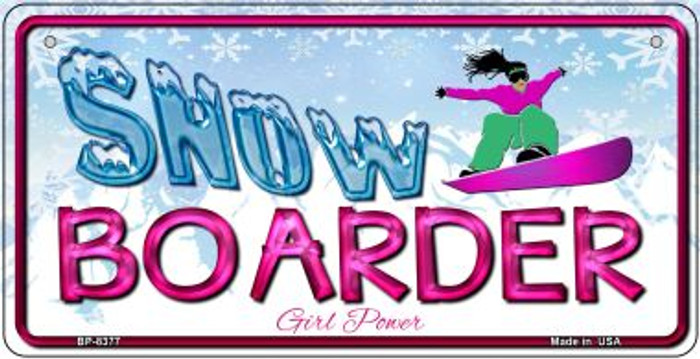 Female Snow Boarder Novelty Metal Bicycle Plate BP-8377