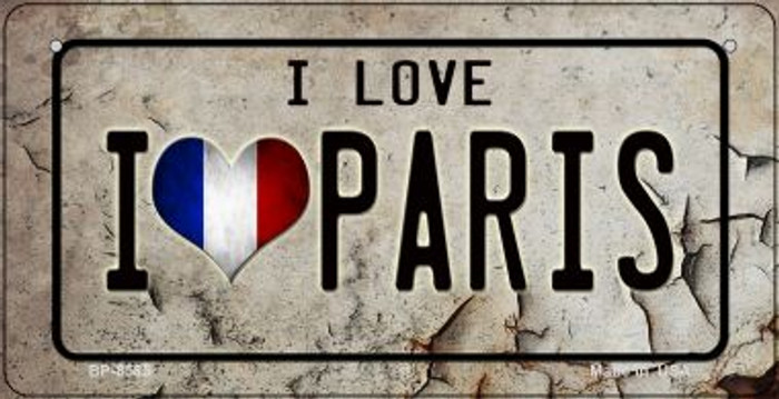 I Love Paris Novelty Metal Bicycle Plate BP-8585