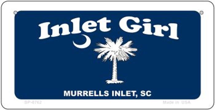 Inlet Girl Blue Flag Novelty Metal Bicycle Plate BP-8762