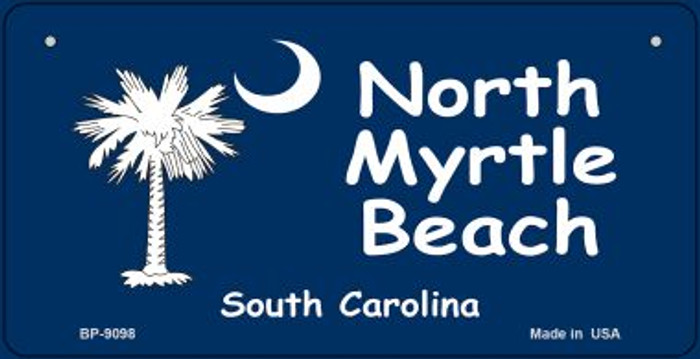 North Myrtle Beach Blue Flag Novelty Metal Bicycle Plate BP-9098