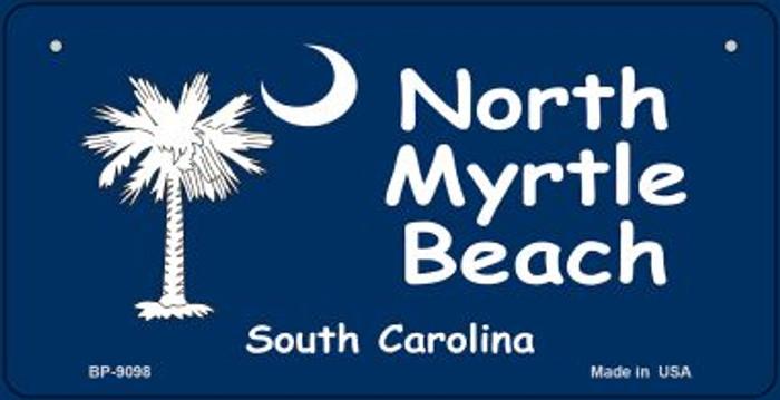 North Myrtle Beach Blue Flag Novelty Metal Bicycle Plate BP-9098