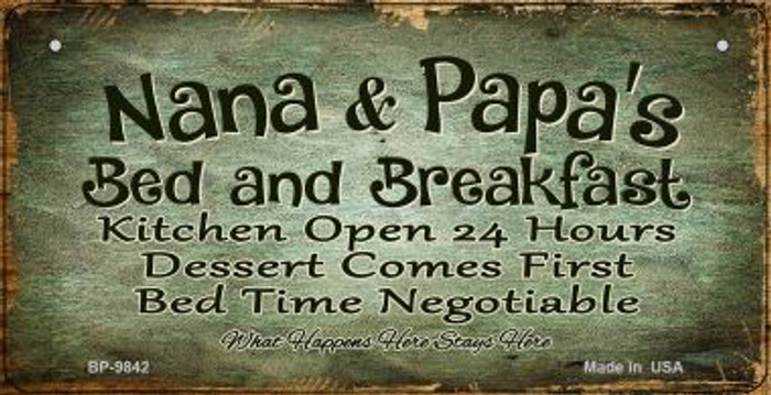 Nana and Papas Bed and Breakfast Novelty Metal Bicycle Plate BP-9842