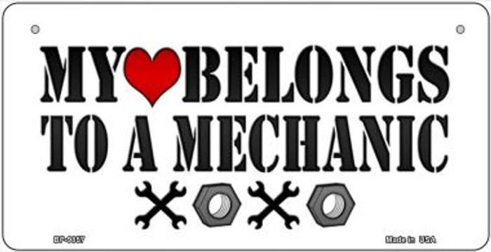 Heart to a Mechanic Novelty Metal Bicycle Plate BP-9857