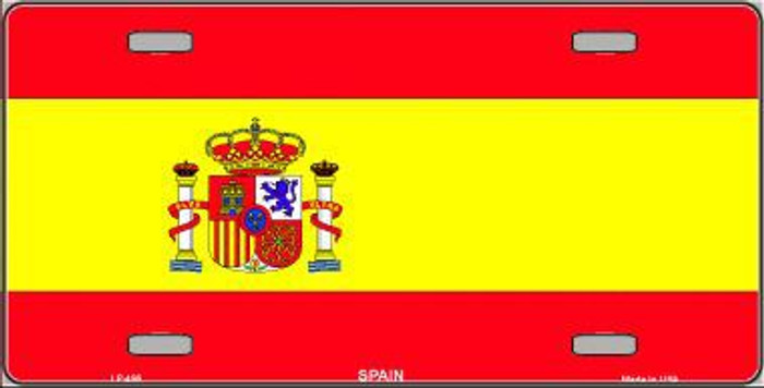 Spain Flag Metal Novelty License Plate LP-496