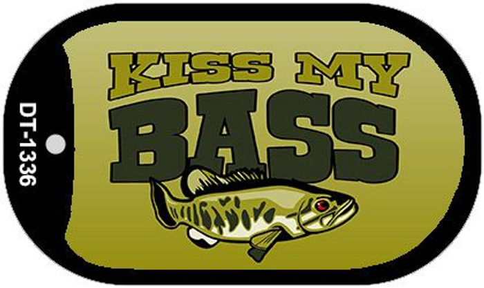 Kiss My Bass Novelty Metal Dog Tag Necklace DT-1336
