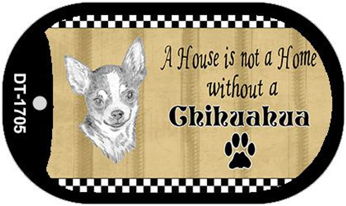 Chihuahua Pencil Sketch Novelty Metal Dog Tag Necklace DT-1705
