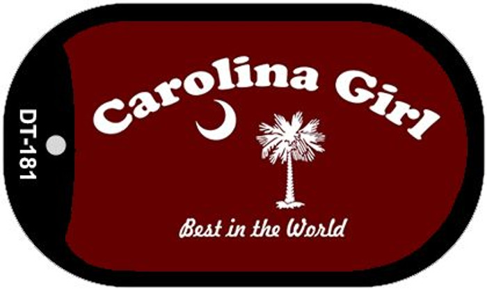 Carolina Girl Burgandy Flag Novelty Metal Dog Tag Necklace DT-181
