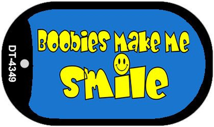 Boobies Make Me Smile Blue Novelty Metal Dog Tag Necklace DT-4349