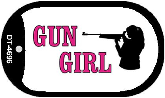 Gun Girl Novelty Metal Dog Tag Necklace DT-4696