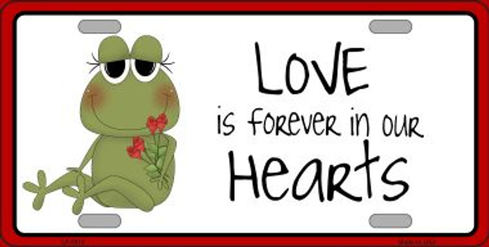 Love In Our Hearts Frog Metal Novelty License Plate