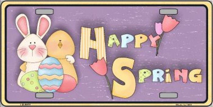 Happy Spring Yellow Metal Novelty License Plate LP-5022