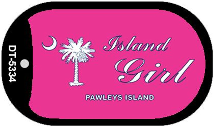 Island Girl Pink Flag Novelty Metal Dog Tag Necklace DT-5334