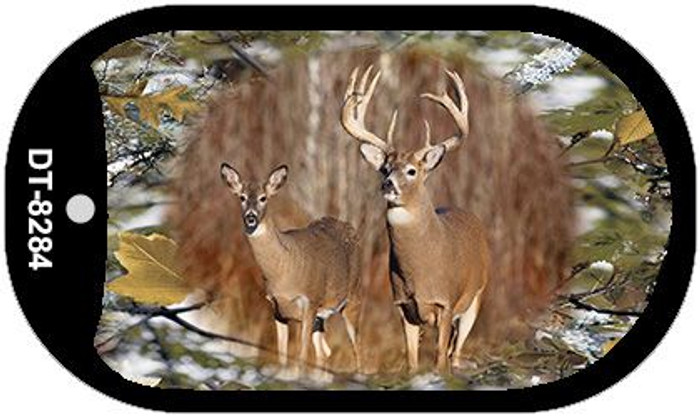 Two Deer on Camo Novelty Metal Dog Tag Necklace DT-8284