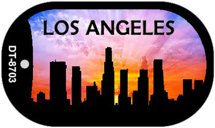 Los Angeles Silhouette Novelty Metal Dog Tag Necklace DT-8703