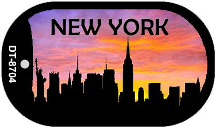 New York Silhouette Novelty Metal Dog Tag Necklace DT-8704