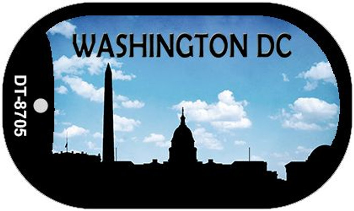 Washington DC Silhouette Novelty Metal Dog Tag Necklace DT-8705