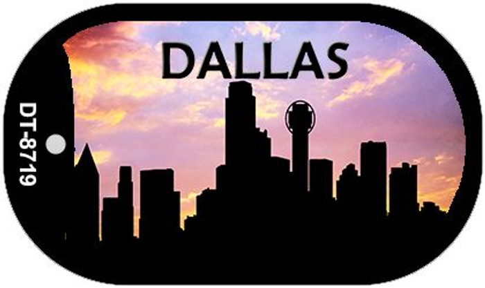 Dallas Silhouette Novelty Metal Dog Tag Necklace DT-8719