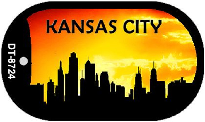 Kansas City Silhouette Novelty Metal Dog Tag Necklace DT-8724