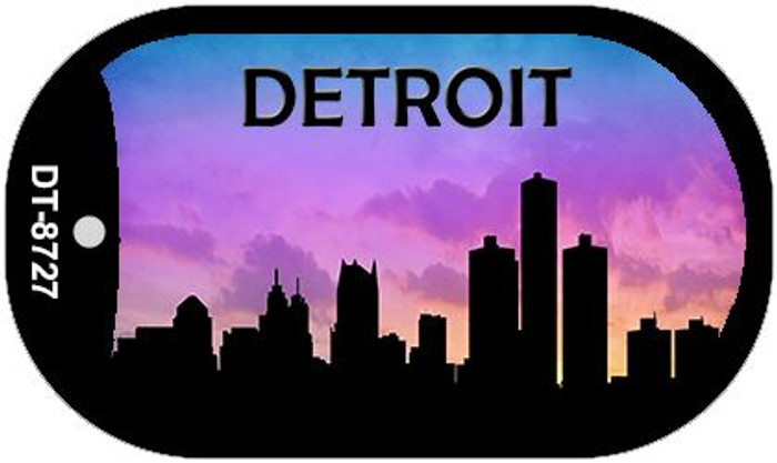 Detroit Silhouette Novelty Metal Dog Tag Necklace DT-8727