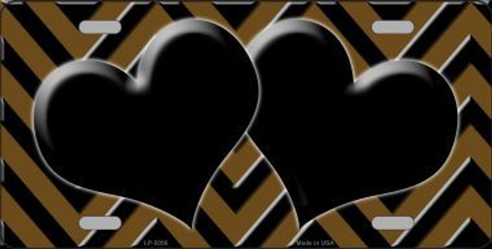 Brown Black Chevron With Hearts Metal Novelty License Plate LP-5056