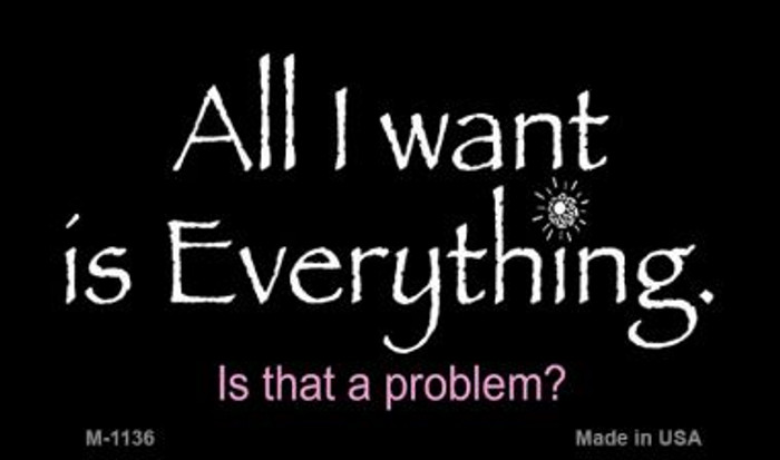 All I Want is Everything Novelty Metal Magnet M-1136