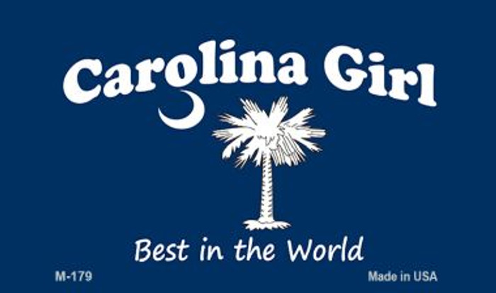 Carolina Girl Blue Flag Novelty Metal Magnet M-179