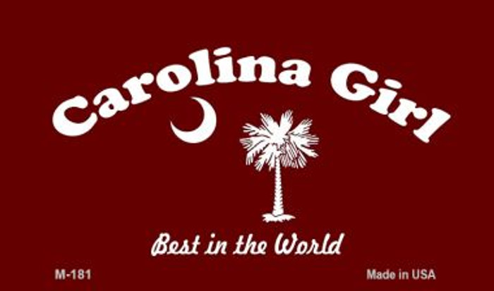 Carolina Girl Burgandy Flag Novelty Metal Magnet M-181