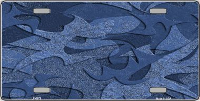 Camouflage Solid Blue Background Metal Novelty License Plate