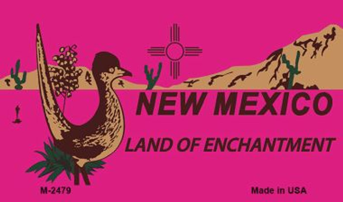 Roadrunner Pink New Mexico Novelty Metal Magnet M-2479