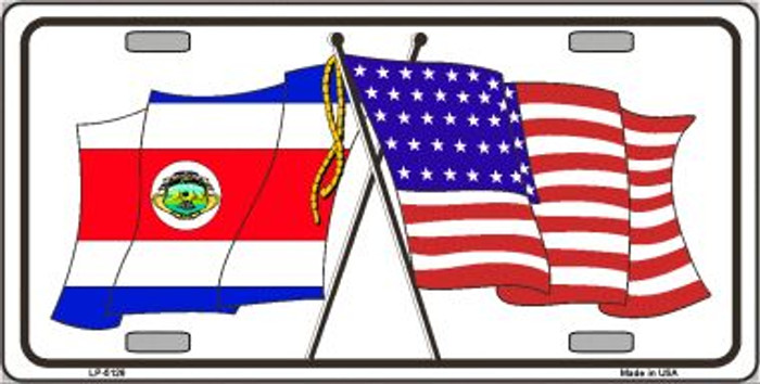 United States Costa Rica Crossed Flags Metal Novelty License Plate Sign LP-5126