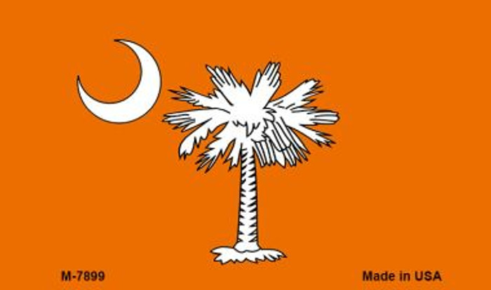 Orange South Carolina Flag Novelty Metal Magnet M-7899