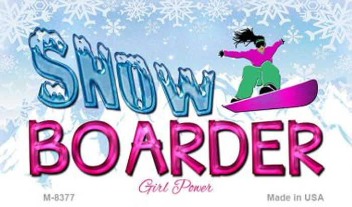 Female Snow Boarder Novelty Metal Magnet M-8377