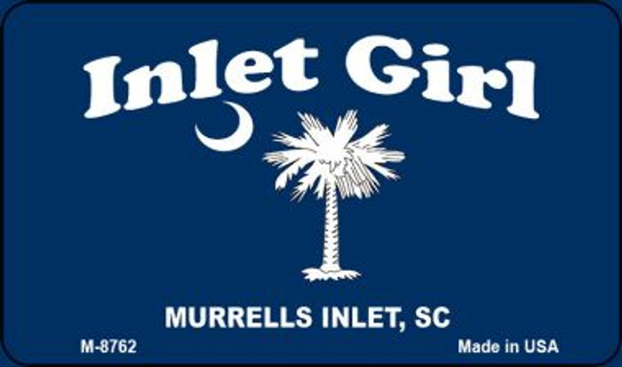 Inlet Girl Blue Flag Novelty Metal Magnet M-8762