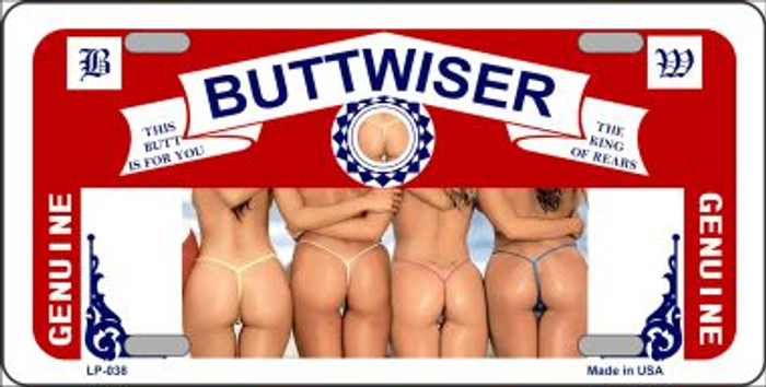 Buttwiser Beer Girls Novelty Metal License Plate LP-038