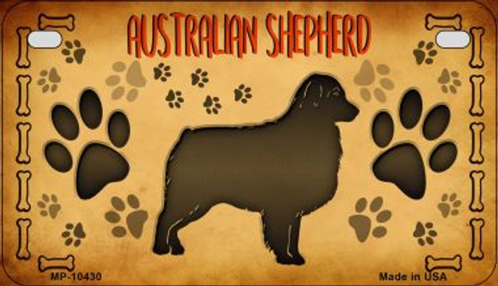 Australian Shepard Novelty Metal Motorcycle Plate MP-10430