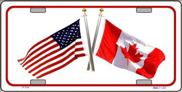 United States Canadian Flag Metal Novelty License Plate LP-516