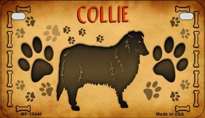 Collie Novelty Metal Motorcycle Plate MP-10440