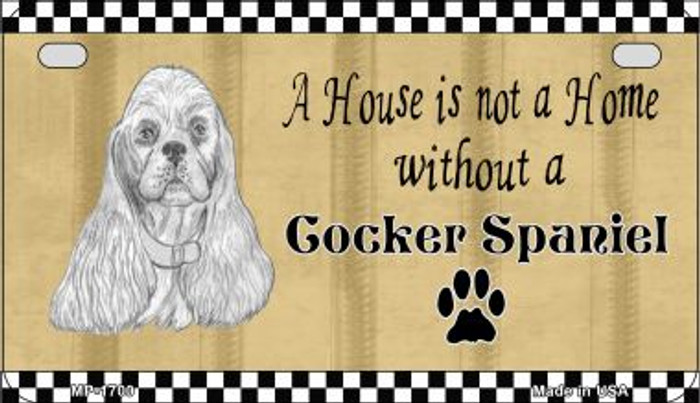 Cocker Spaniel Pencil Sketch Novelty Metal Motorcycle Plate MP-1700